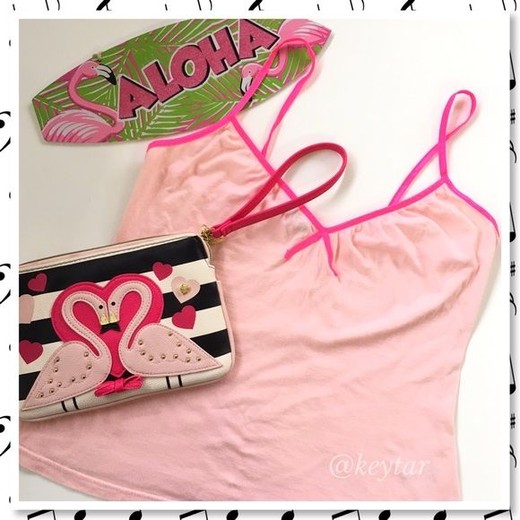 Neon and Light Pink Camisole M/L Cute pink cami with hot pink straps. Wear it alone or under your favorite cardigan. Size 12 fits like a M/L H&M Tops Tank Tops