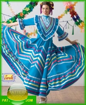 Simplicity 3858 Traditional Mexican Folkloric Dance Dress Pattern