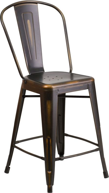 Tolix 24'' High Industrial Distressed Metal Indoor Counter Height Stool w/Back