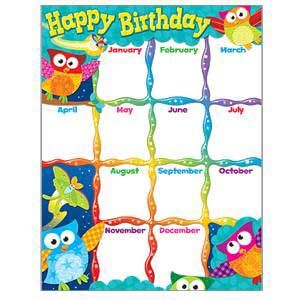 Owl Themed Classroom Bulletin Board | Lively owls help celebrate birthdays each month on this colorful chart ...