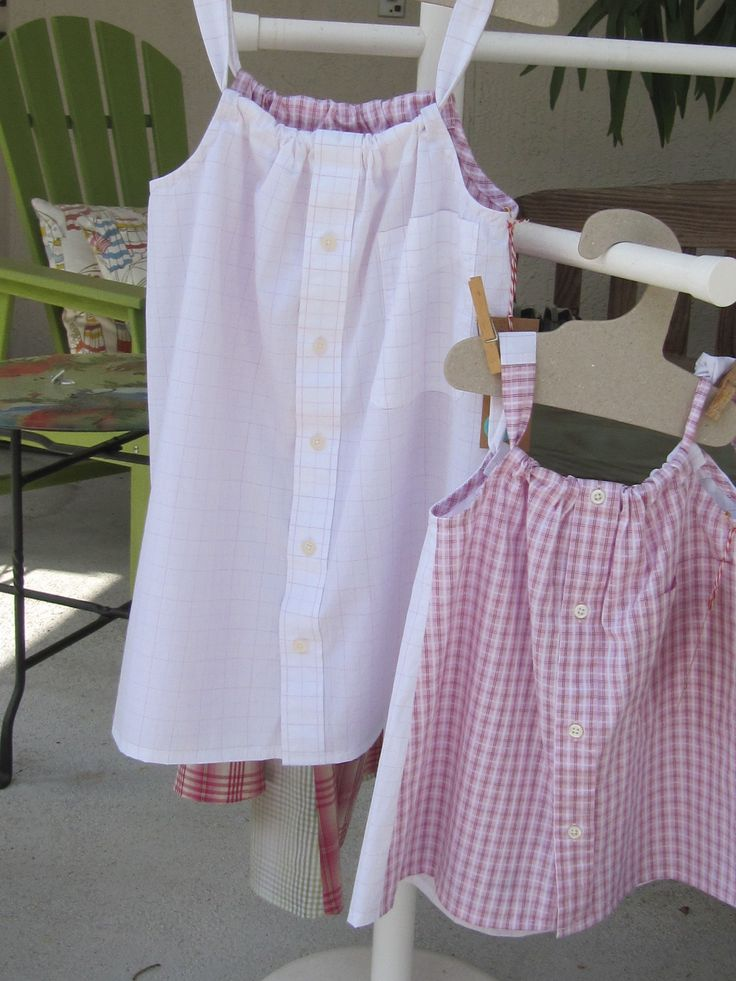 Daddy's Button Shirt - see items at https://www.facebook.com/daddysbuttonshirt/?ref=aymt_homepage_panel and Daddy's Button Shirt Pinterest  board. Items made from men's shirts include dresses, pants, pillows, stuffed animals, booties, tote bags, scarves, etc.