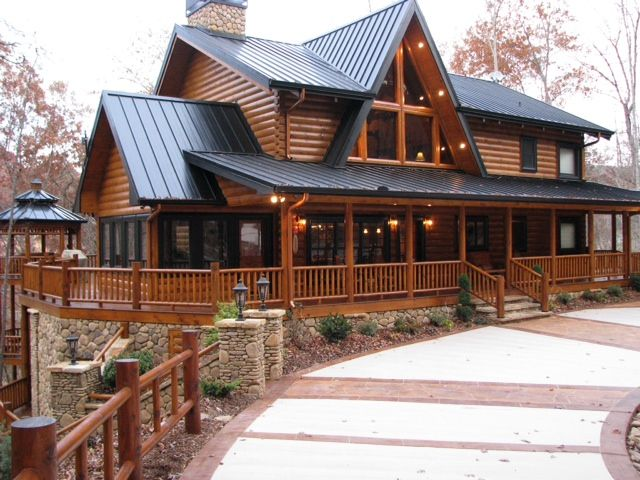Rustic house plans with wrap around porches click here for Log cabin with basement