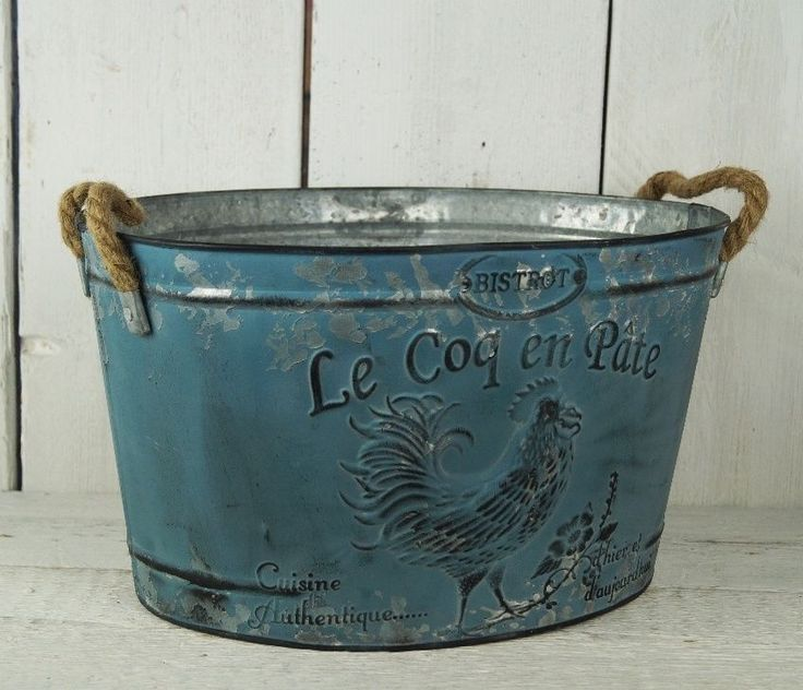 Large Metal Blue Tin Planter With Rope Handles Le Coq En Pate  | eBay