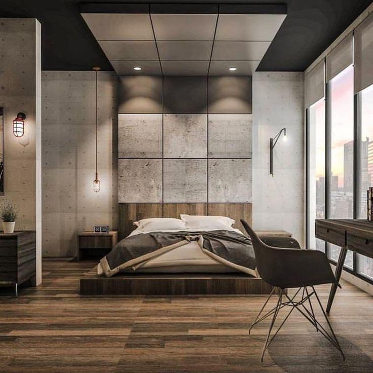 Industrial Bedroom Decor: Concrete & Wood Bedroom Design By Emanuel Viyantara