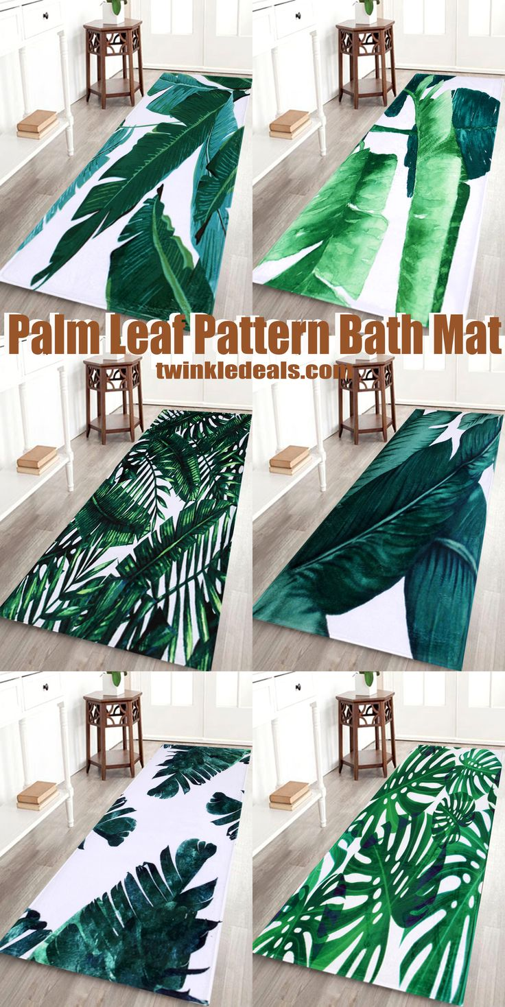 Palm Leaf Pattern Bath Mat