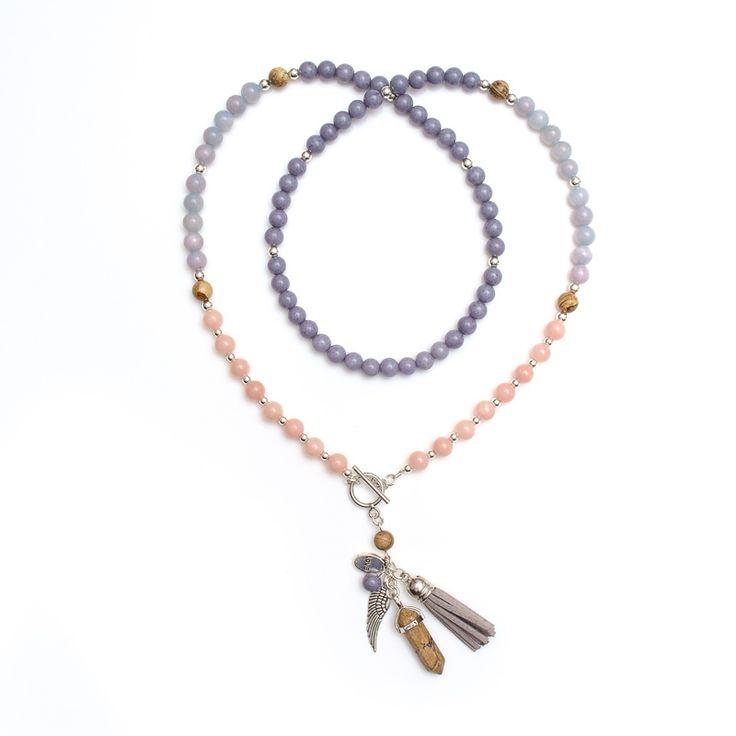 xada jewellery - Grey and pink chakra bead necklace, $67.95 (http://www.xadajewellery.com/shop-by-collection/autumn-winter-2015/grey-and-pink-chakra-bead-necklace/)