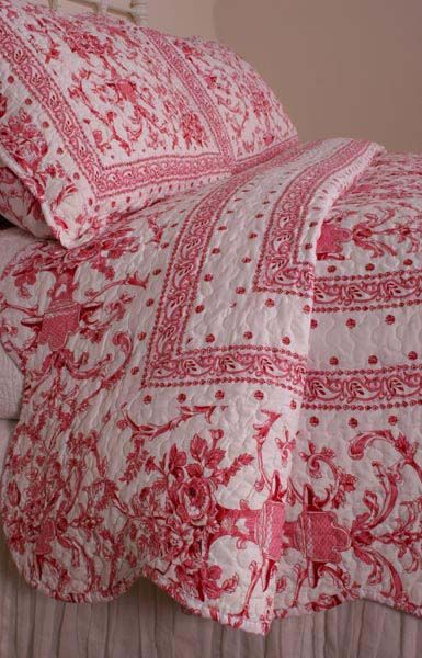 Country Quilts | Country Rose Pink White Floral Toile de Jouy Quilt Set French Country ...