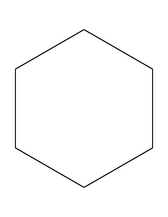 8 inch hexagon pattern. Use the printable outline for crafts, creating stencils, scrapbooking, and more. Free PDF template to download and print at http://patternuniverse.com/download/8-inch-hexagon-pattern/