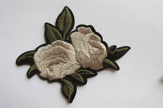 Cream Rose Iron on or sew on Patch small