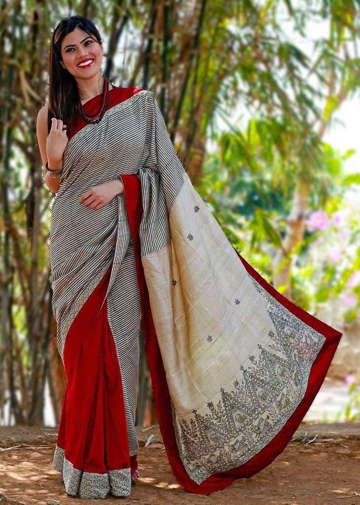 Saree - Pure Striped Tassar Silk With Printed Pure Tasar Silk Pallu With Red Cotton Silk Pleats