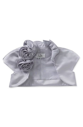 Us Angels Cap Sleeve Satin Bolero $52  Pretty flowers adorn one side of the ruffled collar atop a sweet little cap-sleeve bolero cut from shiny satin.  No closure.  Fully lined.  Polyester; hand wash or dry clean.