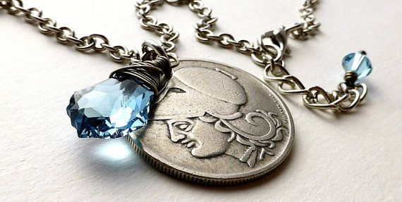 Greek Coin necklace Coin jewelry Swarovski necklace by CoinStories