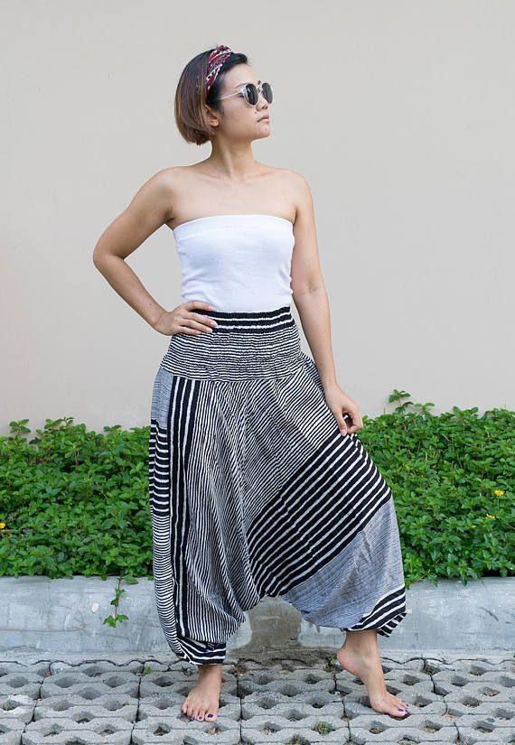 Harem Pants Women Jumpsuit  Thai Harem Pants Striped Pants