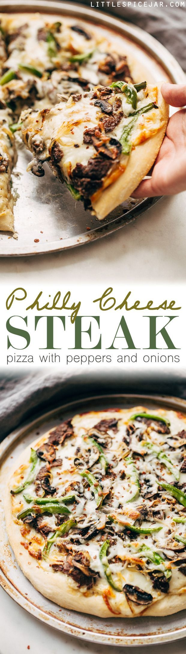 Philly Cheese Steak Pizza - Change up your Friday night pizza routine with a homemade Philly cheese steak pizza! Loaded with tons of veggies and meat, it's sure to be a crowd-pleaser! #pizza #phillycheesesteakpizza #steakpizza   Littlespicejar.com
