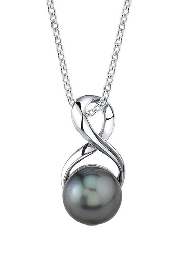 Sterling Silver 8-9mm Tahitian South Sea Pearl Infinity Pendant Necklace