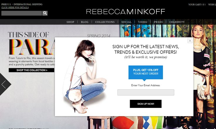 Rebecca Minkoff email marketing modal popup for newsletter signup with preference center! #CTA #emailmarketing