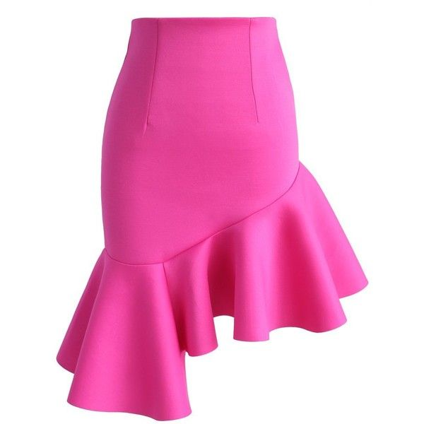 Chicwish Hot Pink Charm Asymmetric Airy Frill Hem Skirt (81 BGN) ❤ liked on Polyvore featuring skirts, pink, ruffle hem skirt, asymmetrical skirt, flounce hem skirt, pink skirt and chicwish skirt