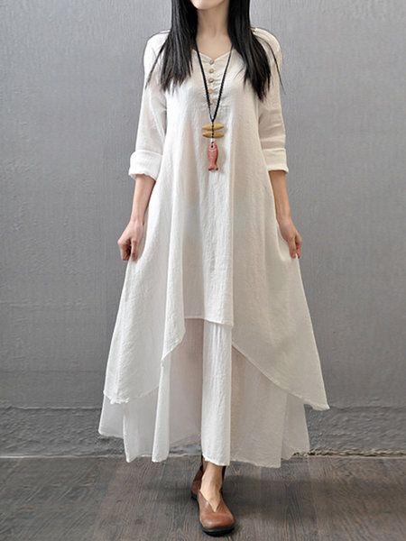 Shop Casual Dresses - White Solid Asymmetric Casual Maxi Dress online. Discover unique designers fashion at PopJuLia.com.