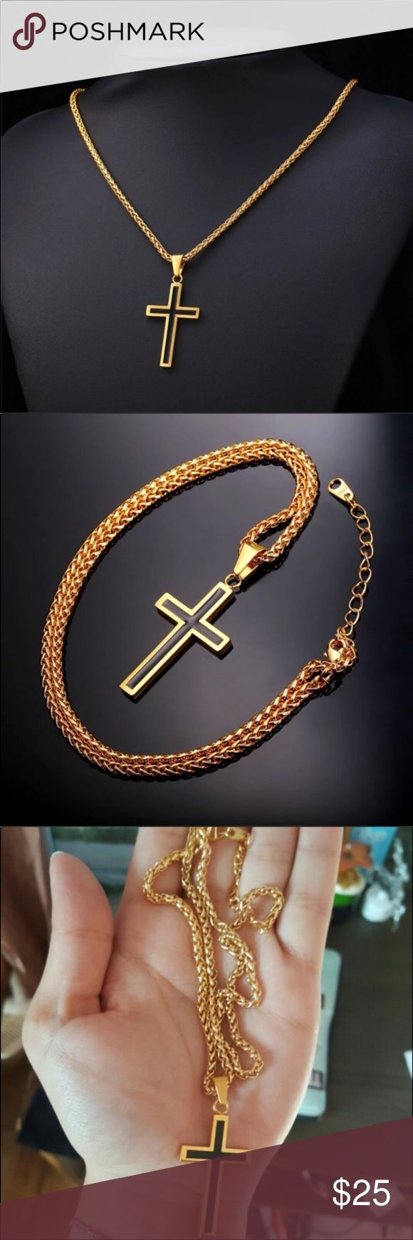 "new 18k gold cross necklace Brand new. High quality 18K Gold Filled Cross INRI Crucifix Jesus Piece Pendant & Necklace Chain For Men Gift Vintage Christian Jewelry and it won't tarnish or fade.  Chain length: 22"" Accessories Jewelry"