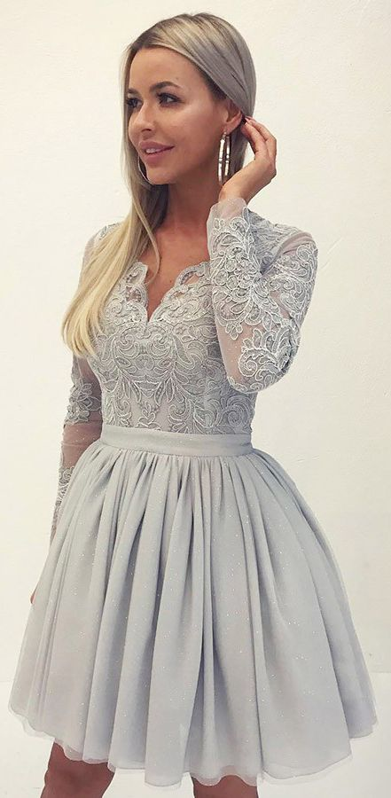 Long Sleeve Silver Lace Applique Homecoming Dresses V Neck Vintage ... 39826527a