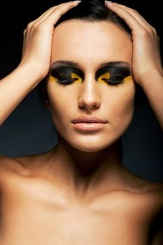 #sensual #woman #closedeyes #brightmakeup #beauty #style #model #beautiful #girl #makeup #color #fashion