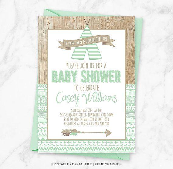 Tribal Baby Shower Invitation Boho Baby Shower Aztec Baby