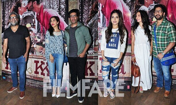 We spotted Bhumi Pednekar Arshad Warsi with his wife Maria Goretti Manish Malhotra Sophie Choudry and the director himself R Balki at the Ki & Ka screening which was held last night. And the celebrities looked more than happy to pose for the shutterbugs as they made their way into the preview theatre. While industry peers have been lauding the film on social media it remains to be seen what the film's fate at the box-office will be as it releases tomorrow. by #Filmfare. Shared by…