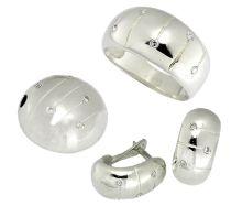 Handgefertigtes Sterling Silber Schmuckset mit weißen Zirkonia - ein schönes Accessoire für jeden Tag, Design und Handarbeit von ZYGO. Zirkonia- Größe: 1.5 mm