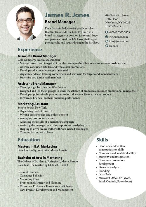 template cv marketing indesign