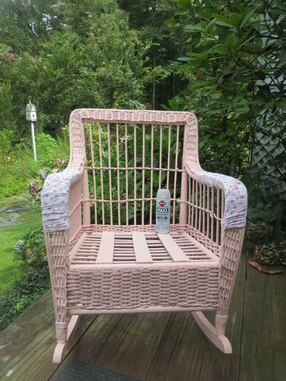 wicker rocker resurrected, painted furniture, Arm rest covers look era appropriate