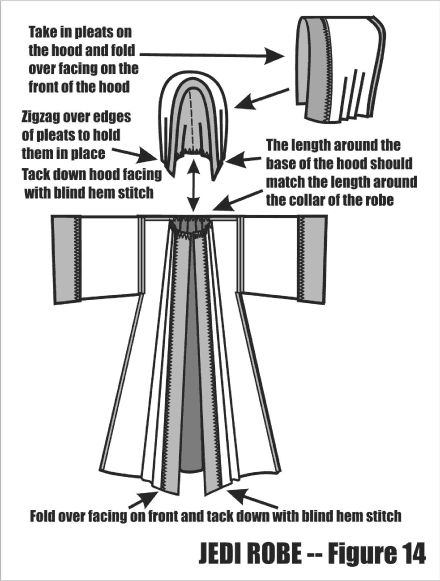 Jedi Robe Pattern- hey you can make coats of this (In Gray and Autumnal colors for a dancer's coverup/ritual robe for Lilith)