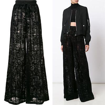 2058-Puma-Fenty-Black-Wide-Leg-Velvet-Velour-Sheer-Patterned-Pants-By-Rihanna