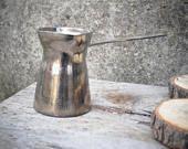 Vintage Stainless Steel Turkish Coffee Pot, Vintage Coffee Jug, Rustic Cezve Coffee Pot, Handled Pouring Jug, Small Coffee Maker