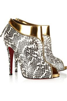 Louboutin Col Zippe 120 leather and water snake ankle boots
