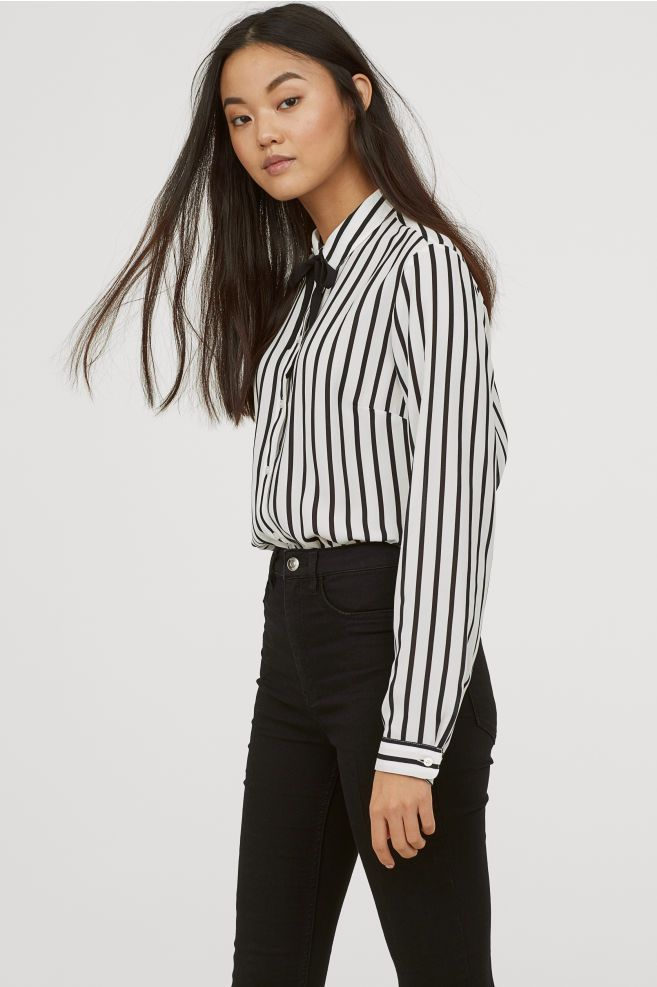 079905285281f Blouse with Ties - White black striped - Ladies