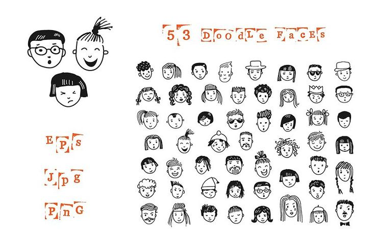 53 doodle faces - Illustrations - 1