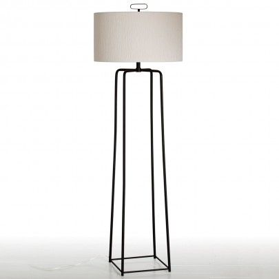 Griffith Floor Lamp from Arteriors.  Transitional floor lamp features 4 gently rounded iron bars in a bronze finish. This lamp has a double socket and foot dimmer. It is topped with a hand crinkled paper drum shade. http://www.plumgoose.com/arteriors-griffith-floor-lamp.html More Arteriors floor lamps here: http://www.plumgoose.com/arteriors-floor-lamps/