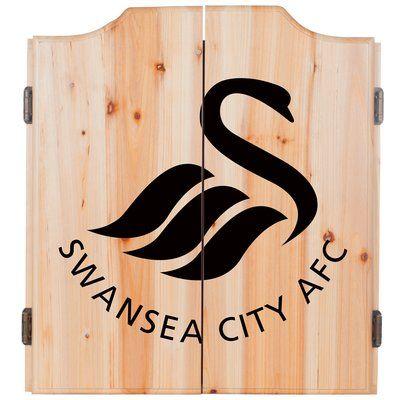 Trademark Global English Premier League Dartboard and Cabinet Set Premier League Team: Swansea City