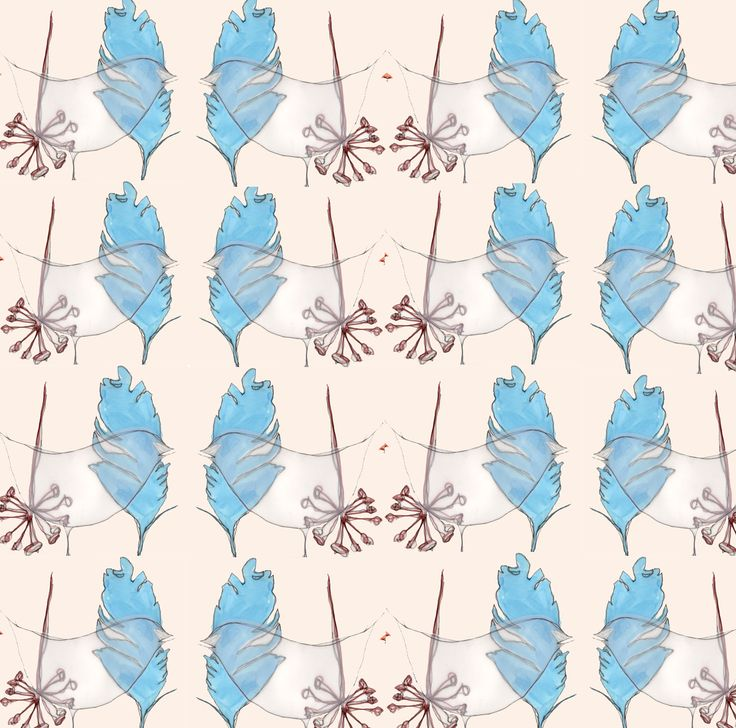 #illustration #print #foliage #feather #collage #pastel #pastels #design #designer #illustrator #handdrawn #drawing #repeat #pattern #repeatpattern