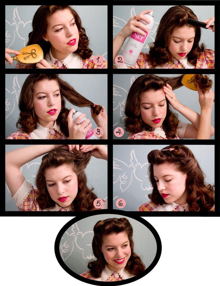 """'40s  """"victory curls"""" hair tutorial."""