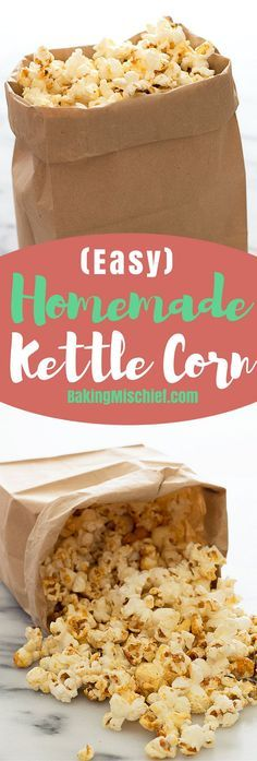 A delicious sweet and salty Easy Homemade Kettle Corn recipe plus tips on how to make kettle corn without burning the sugar. Recipe includes nutritional information. From http://BakingMischief.com