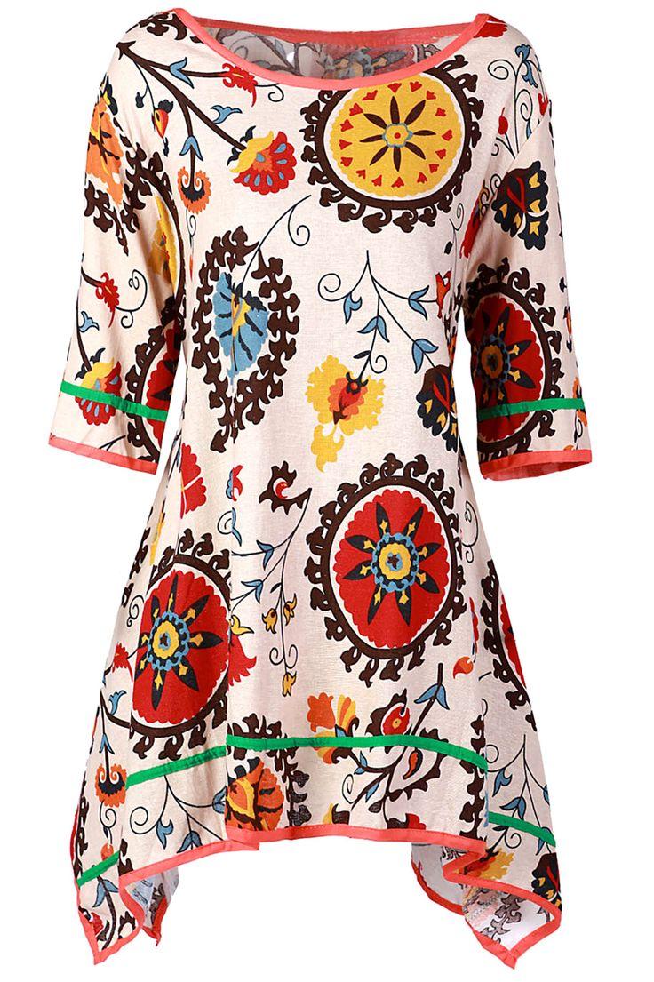 $16.15 Casual Scoop Collar 3/4 Sleeve Printed Asymmetrical Women's Dress
