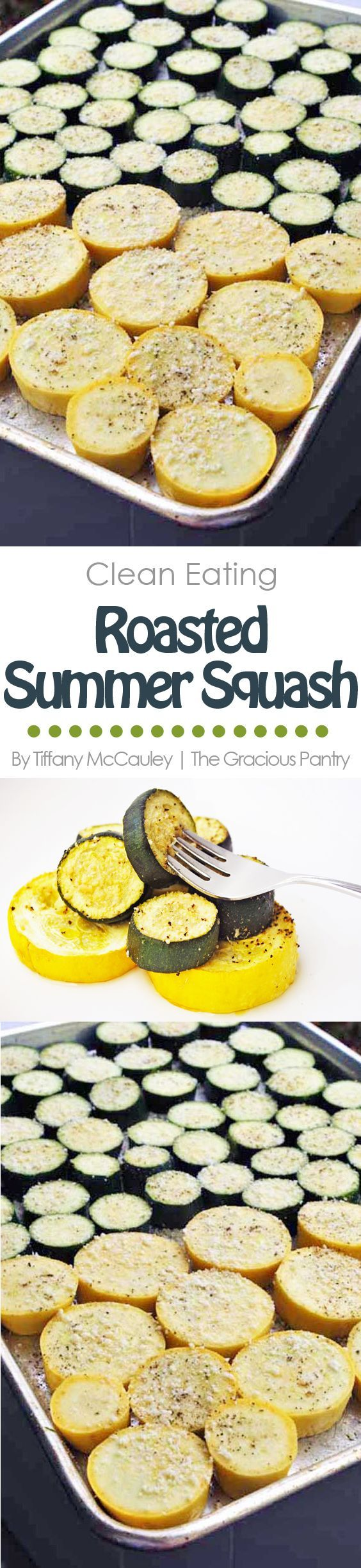 This Clean Eating Roasted Summer Squash Recipe is a delicious way to get more veggies in your day! (And keep up with a prolific, summer garden!) ~ http://www.thegraciouspantry.com