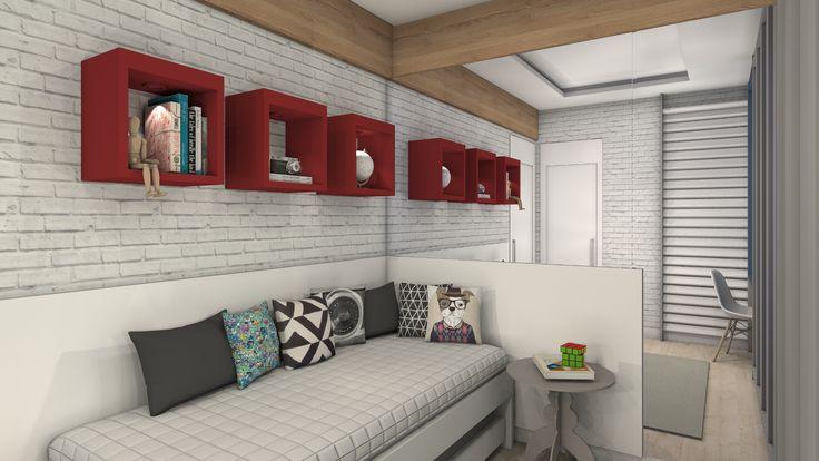 quarto, menino, hospedes, nicho vermelho, espelho, tijolo branco.
