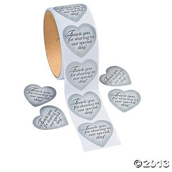 """Silver Heart Stickers that say """"Thank you for sharing in our special day"""" - perfect to put on wedding favors/Thank you note envelopes!  Only $2.50 for 100 stickers from Oriental Trading"""