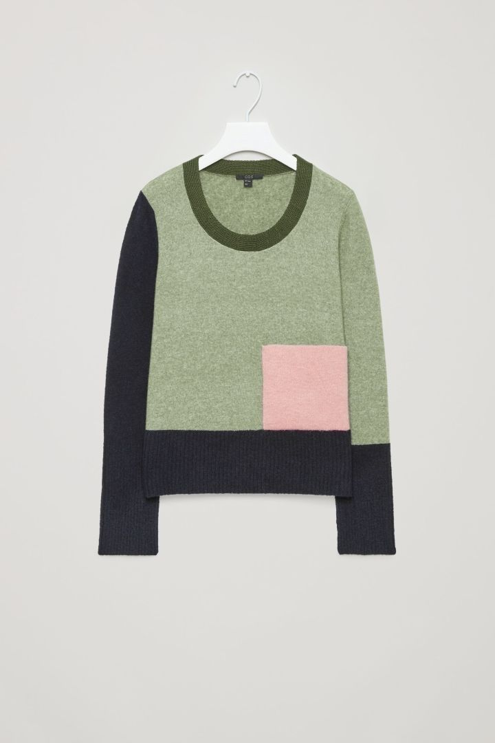 0d59e9ef91d4 COS image 11 of Colour-block jumper with mohair pocket in Green ...