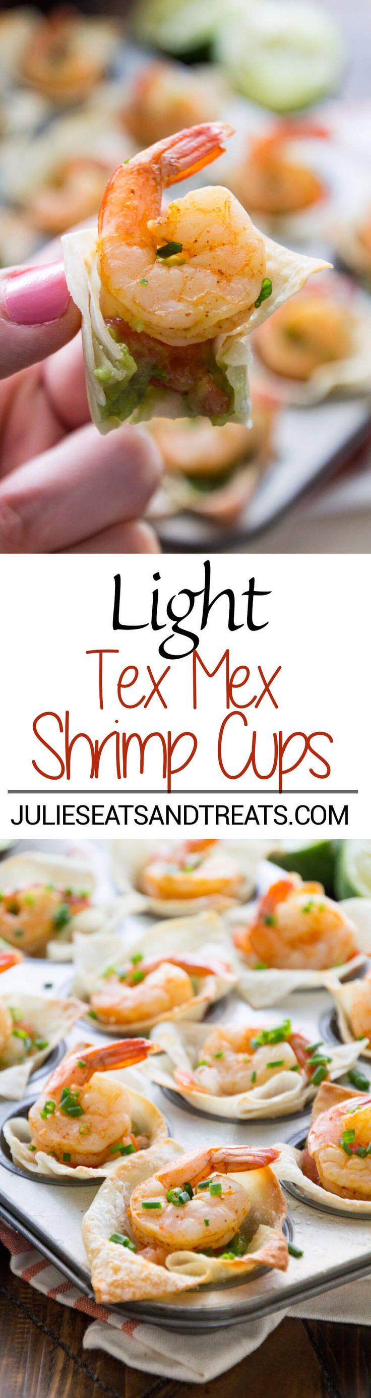 Light Tex Mex Shrimp Bites Recipe ~ Perfect Holiday Appetizer! Crunchy Wonton Shells Stuffed with Pico de Gallo, Guacamole, and Shrimp! Plus, it's a Light Appetizer So You Won't Feel Guilty! ~ http://www.julieseatsandtreats.com