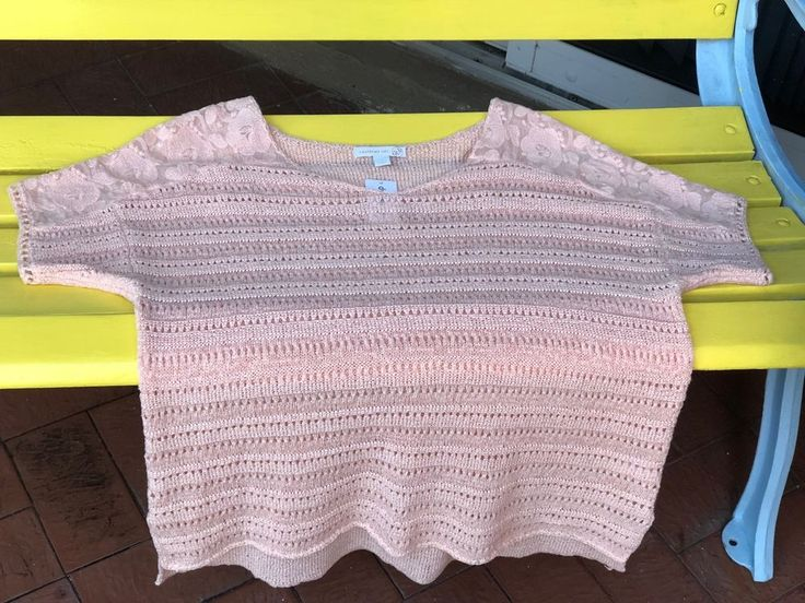 Top Knit Open Stitched Pink Lace Trim Shoulders #Dressbarn #KnitTop #Casual
