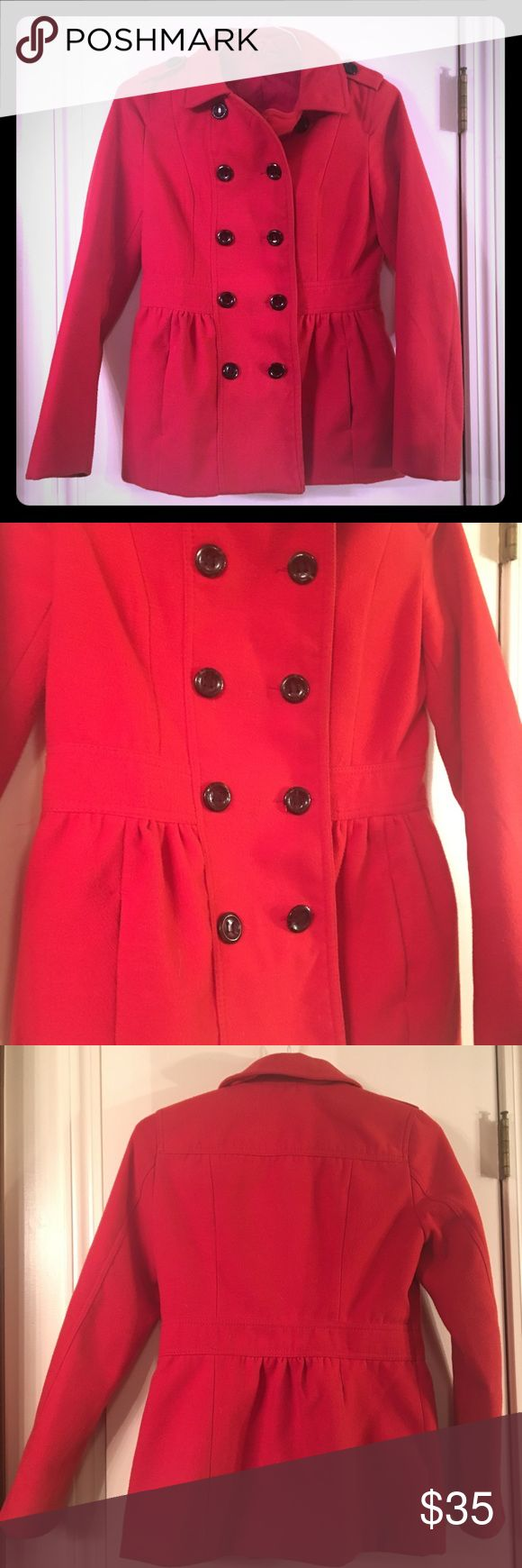 Red Pea Coat Red Pea Coat - size 6. Great condition! Divided Jackets & Coats Pea Coats