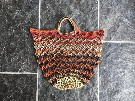 Market bag, shopping bag, reusable bag, eco friendly bag, crochet mesh bag, retro net bag Autumn Sun in autumn colours, lovely gift for her